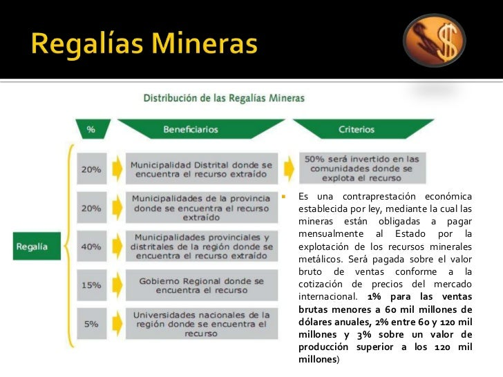 Regalías Mineras Es una contraprestación económica establecida por ley, mediante la cual las mineras están obligadas a pag...