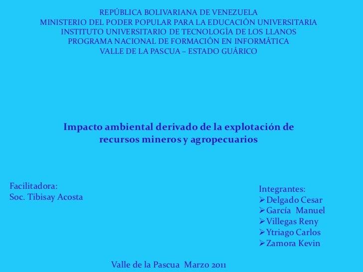REPÚBLICA BOLIVARIANA DE VENEZUELA<br />MINISTERIO DEL PODER POPULAR PARA LA EDUCACIÓN UNIVERSITARIA<br />INSTITUTO UNIVER...
