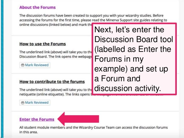 Introduction to setting up the Discussion Board