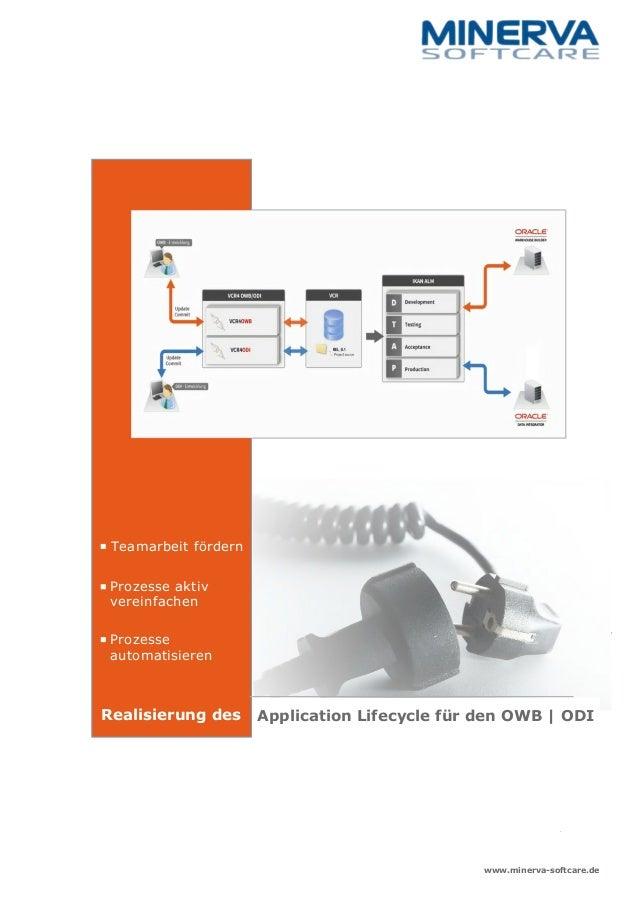 Application Lifecycle für den OWB | ODI Teamarbeit fördern Prozesse aktiv vereinfachen Prozesse automatisieren Realisierun...