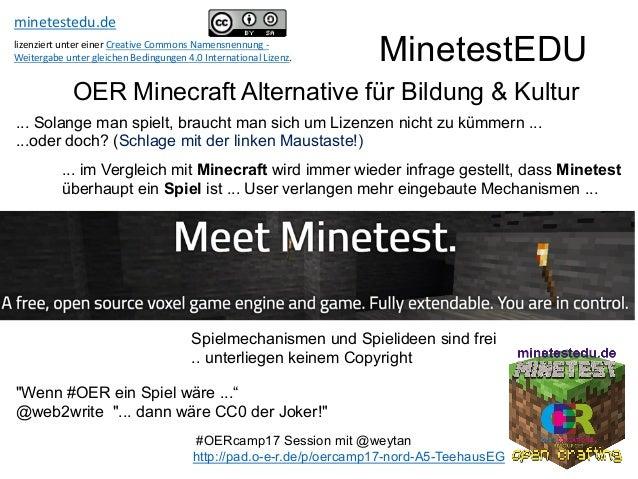 """MinetestEDU OER Minecraft Alternative für Bildung & Kultur """"Wenn #OER ein Spiel wäre ..."""" @web2write """"... dann wäre CC0 de..."""