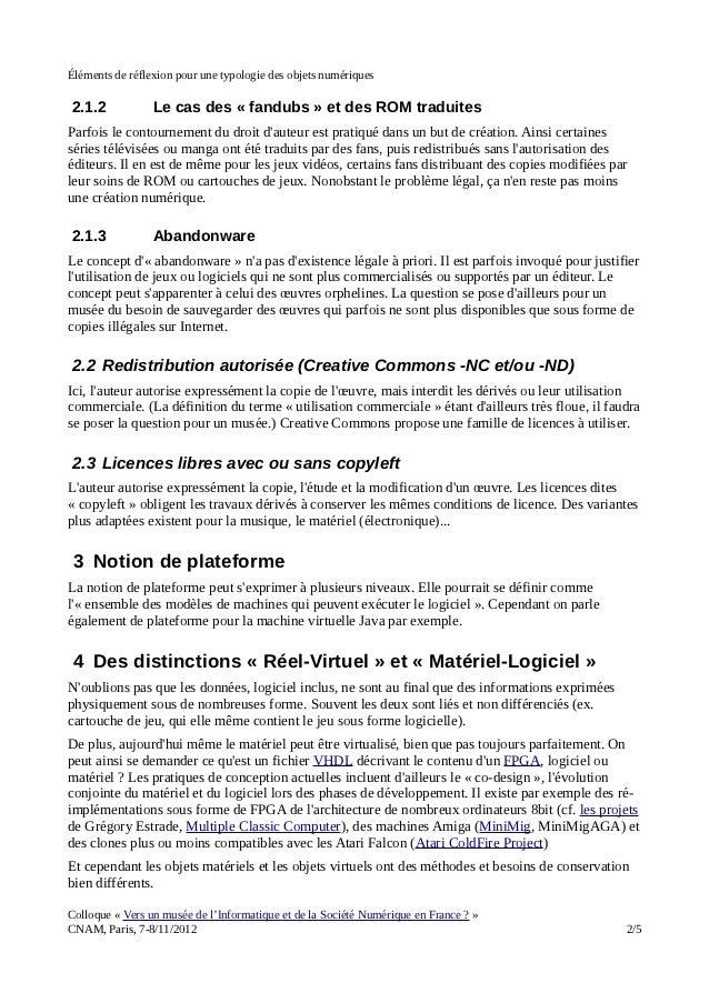 Éléments de réflexion pour une typologie des objets numériques Slide 2