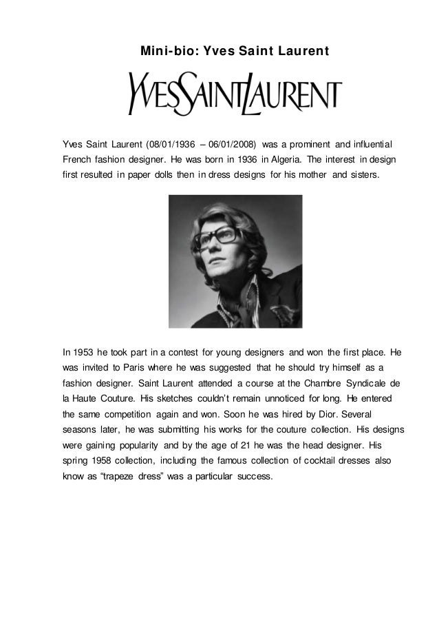 Yves Saint Laurent Fashion Designer Biography The Art Of Mike Mignola