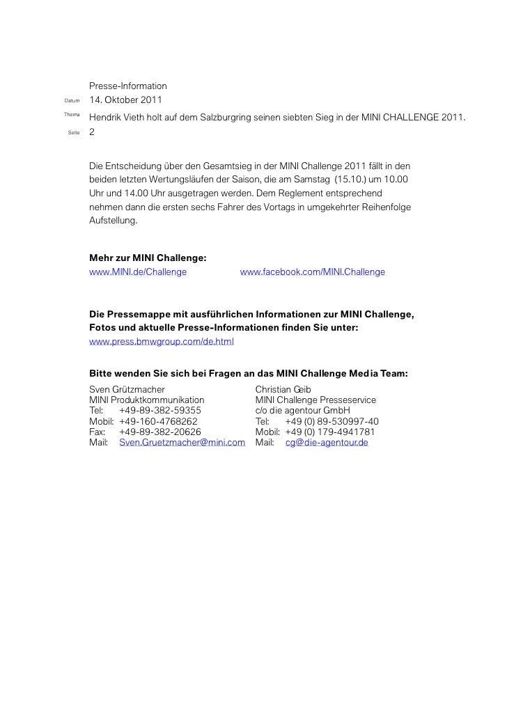 Presse-InformationDatum    14. Oktober 2011Thema         Hendrik Vieth holt auf dem Salzburgring seinen siebten Sieg in de...