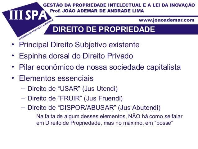 DIREITO DE PROPRIEDADE • Principal Direito Subjetivo existente • Espinha dorsal do Direito Privado • Pilar econômico de no...