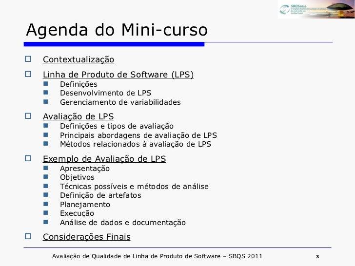 Mini Curso Avaliação de Linha de Produto de Software Slide 3