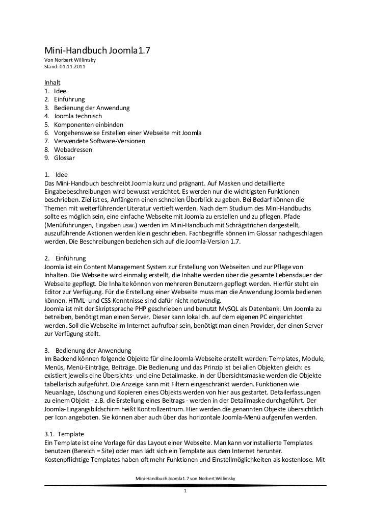 Mini-Handbuch Joomla1.7Von Norbert WillimskyStand: 01.11.2011Inhalt1. Idee2. Einführung3. Bedienung der Anwendung4. Joomla...