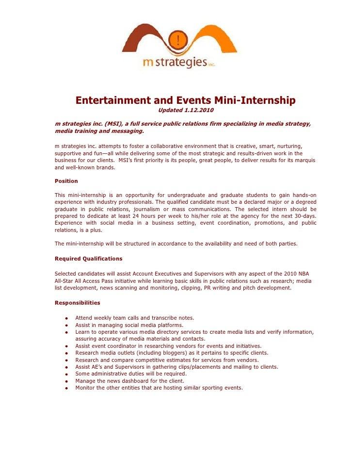 Entertainment and Events Mini-Internship<br />Updated 1.12.2010<br />m strategies inc. (MSI), a full service public relati...