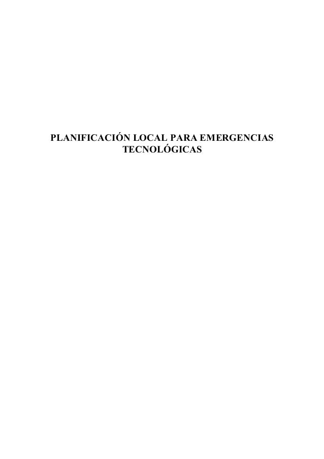 PLANIFICACIÓN LOCAL PARA EMERGENCIASTECNOLÓGICAS