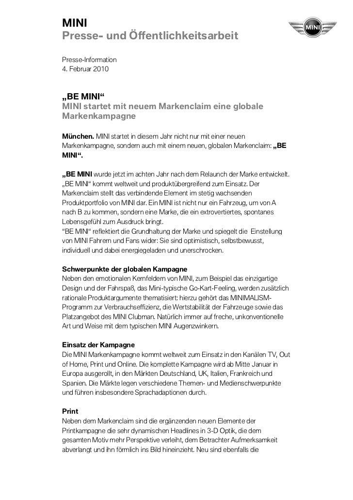 """MINIPresse- und ÖffentlichkeitsarbeitPresse-Information4. Februar 2010""""BE MINI""""MINI startet mit neuem Markenclaim eine glo..."""