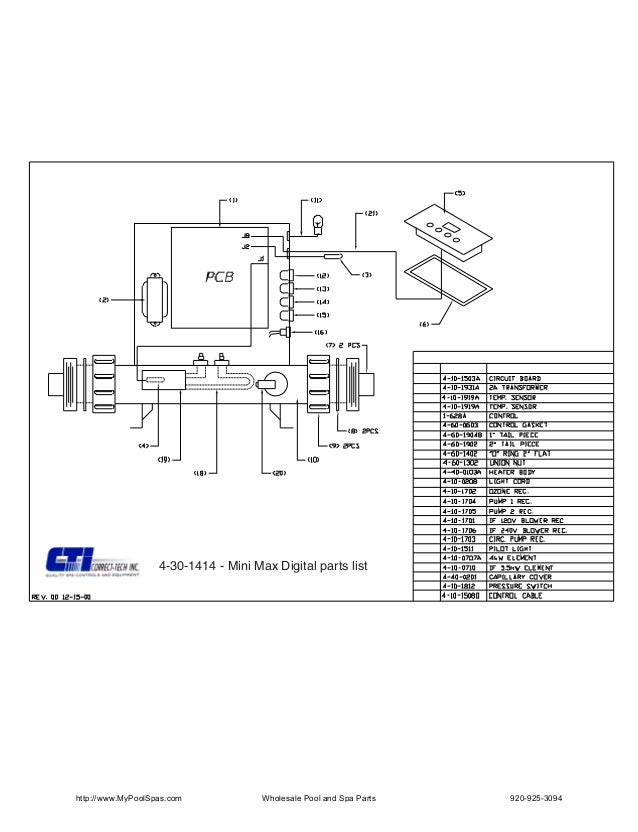 4-30-1414 - Mini Max Digital parts listhttp://www.MyPoolSpas.com             Wholesale Pool and Spa Parts   920-925-3094