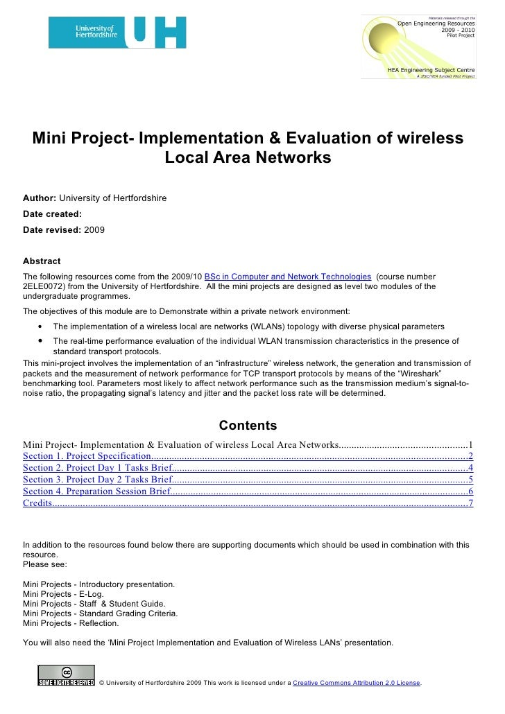 Mini Project- Implementation & Evaluation of wireless                     Local Area Networks  Author: University of Hertf...