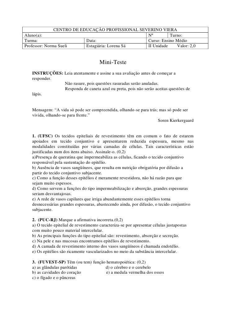 CENTRO DE EDUCAÇÃO PROFISSIONAL SEVERINO VIERA Aluno(a):                                         Nº         Turno: Turma: ...
