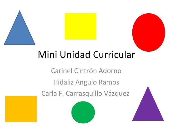 Mini Unidad Curricular Carinel Cintrón Adorno Hidaliz Angulo Ramos Carla F. Carrasquillo Vázquez