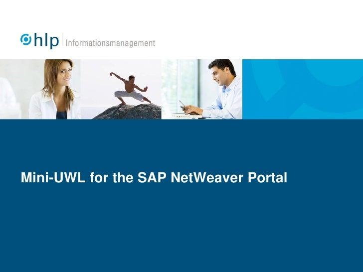 Mini-UWL for the SAP NetWeaver Portal