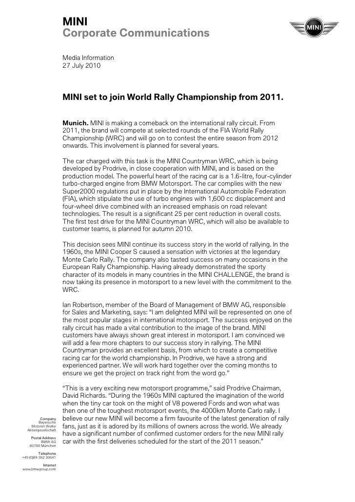 MINI                        Corporate Communications                        Media Information                        27 Ju...