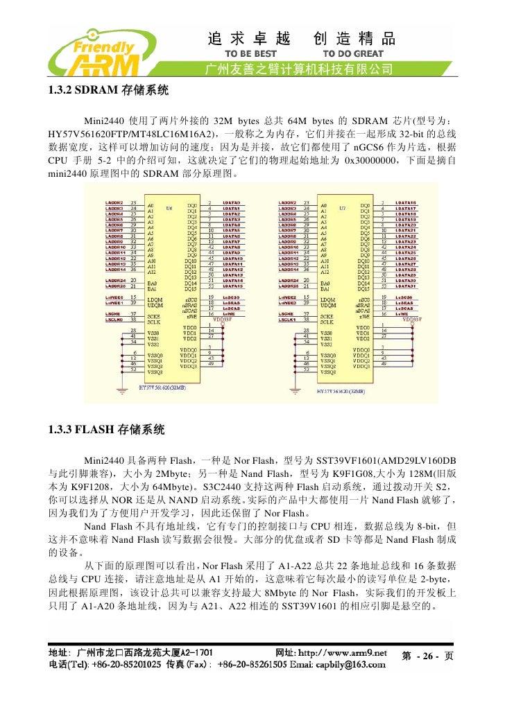 1.3.2 SDRAM 存储系统       Mini2440 使用了两片外接的 32M bytes 总共 64M bytes 的 SDRAM 芯片(型号为:HY57V561620FTP/MT48LC16M16A2),一般称之为内存,它们并接在...