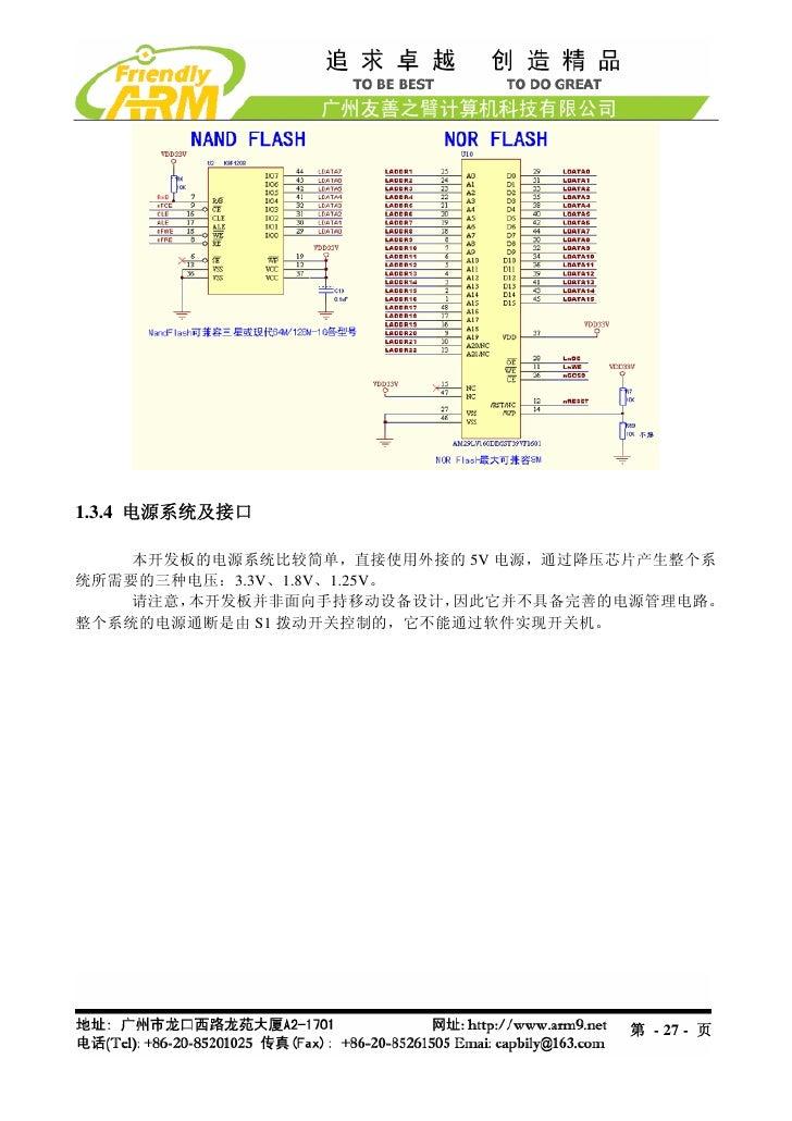 1.3.4 电源系统及接口    本开发板的电源系统比较简单,直接使用外接的 5V 电源,通过降压芯片产生整个系统所需要的三种电压:3.3V、1.8V、1.25V。    请注意,本开发板并非面向手持移动设备设计,  因此它并不具备完善的电源管...