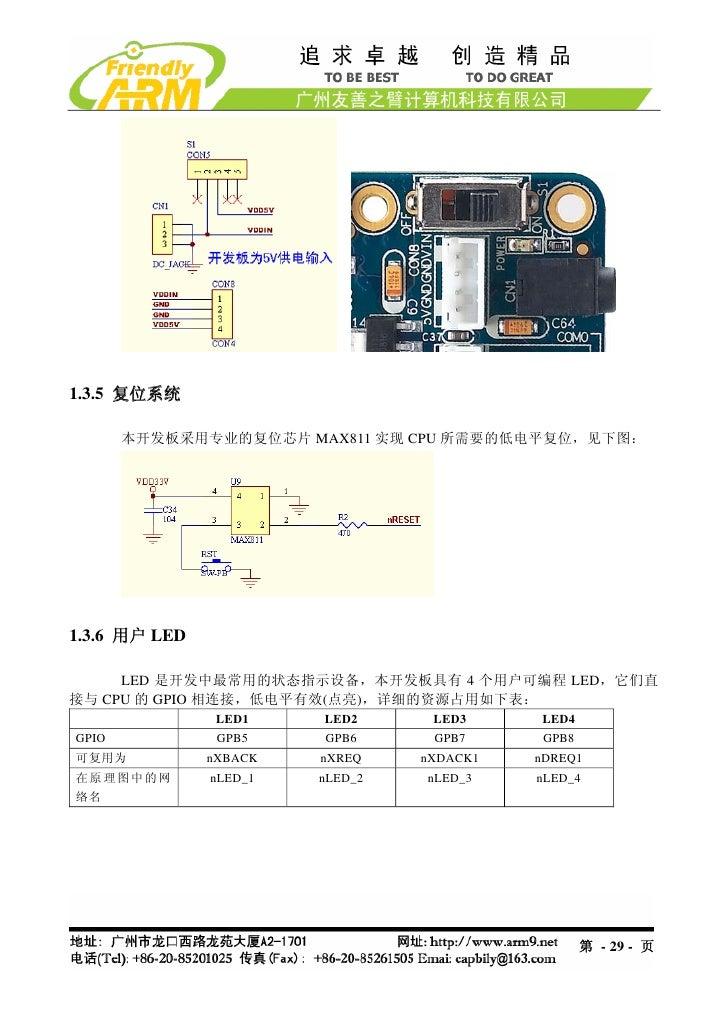 1.3.5 复位系统       本开发板采用专业的复位芯片 MAX811 实现 CPU 所需要的低电平复位,见下图:1.3.6 用户 LED     LED 是开发中最常用的状态指示设备,本开发板具有 4 个用户可编程 LED,它们直接与 C...