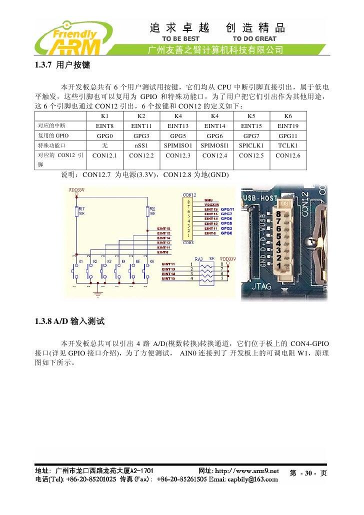 1.3.7 用户按键      本开发板总共有 6 个用户测试用按键,它们均从 CPU 中断引脚直接引出,属于低电平触发,这些引脚也可以复用为 GPIO 和特殊功能口,为了用户把它们引出作为其他用途,这 6 个引脚也通过 CON12 引出,6 ...