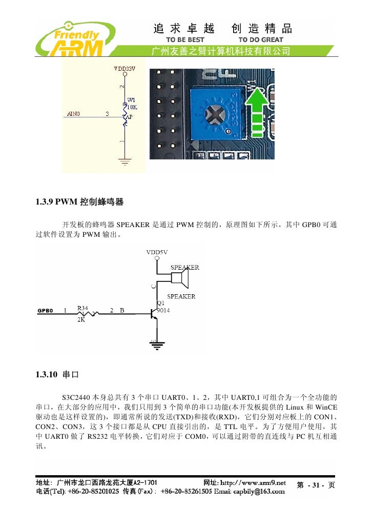 1.3.9 PWM 控制蜂鸣器    开发板的蜂鸣器 SPEAKER 是通过 PWM 控制的,原理图如下所示,其中 GPB0 可通过软件设置为 PWM 输出。1.3.10 串口     S3C2440 本身总共有 3 个串口 UART0、1、2...