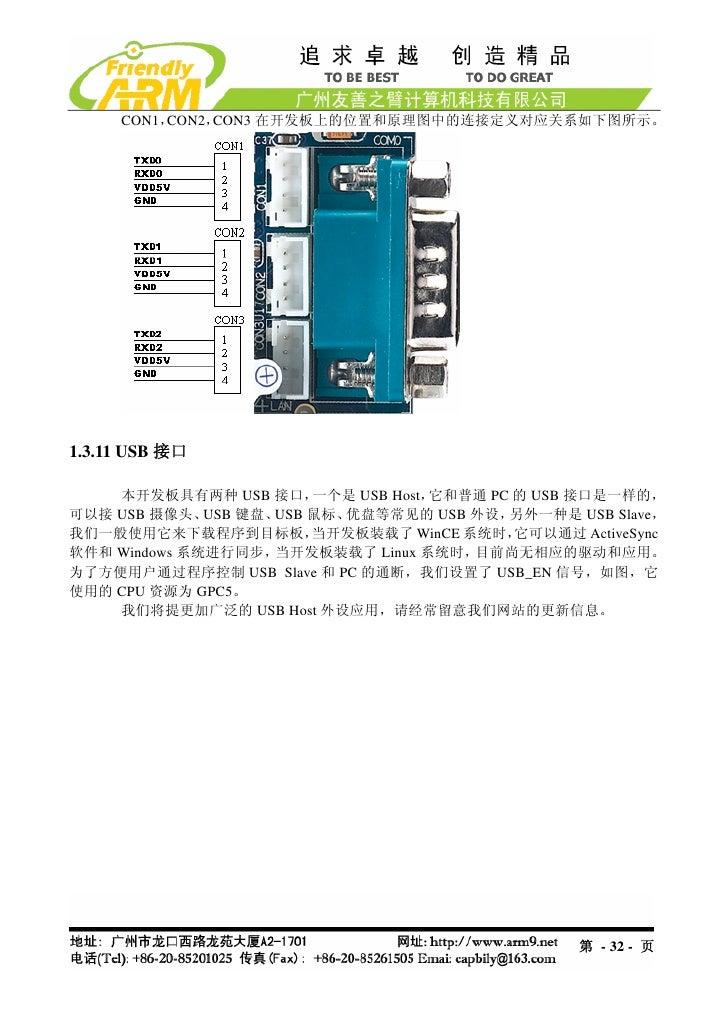 CON1,CON2,CON3 在开发板上的位置和原理图中的连接定义对应关系如下图所示。1.3.11 USB 接口    本开发板具有两种 USB 接口,     一个是 USB Host,它和普通 PC 的 USB 接口是一样的,可以接 USB...