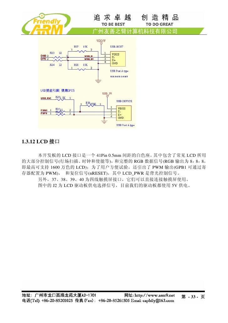 1.3.12 LCD 接口    本开发板的 LCD 接口是一个 41Pin 0.5mm 间距的白色座, 其中包含了常见 LCD 所用的大部分控制信号(行场扫描、     时钟和使能等),  和完整的 RGB 数据信号(RGB 输出为 8: 8...