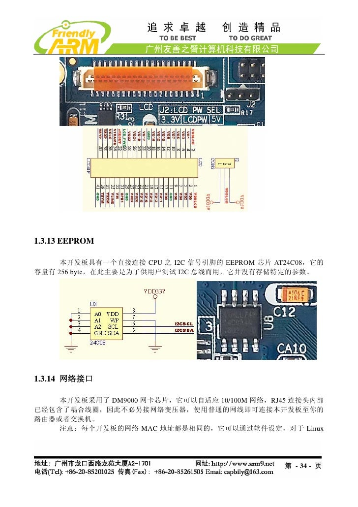 1.3.13 EEPROM     本开发板具有一个直接连接 CPU 之 I2C 信号引脚的 EEPROM 芯片 AT24C08,它的容量有 256 byte,在此主要是为了供用户测试 I2C 总线而用,它并没有存储特定的参数。1.3.14 网...