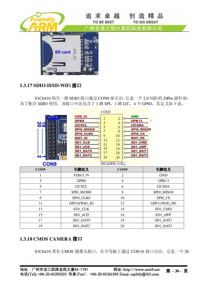 1.3.17 SDIO-II/SD-WiFi 接口    S3C6410 的另一路 SDIO 接口通过 CON9 座引出,它是一个 2.0 间距的 20Pin 插针座,为了配合 SDIO 使用,该接口中还包含了 1 路 SPI,1 路 I2C,...