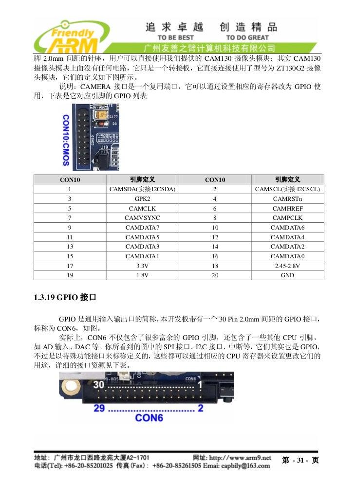 脚 2.0mm 间距的针座,用户可以直接使用我们提供的 CAM130 摄像头模块;其实 CAM130摄像头模块上面没有任何电路,它只是一个转接板,它直接连接使用了型号为 ZT130G2 摄像头模块,它们的定义如下图所示。      说明:CAM...