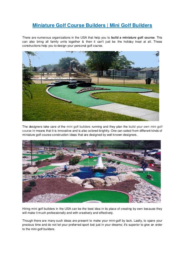 miniature golf course construction   mini golf course plans