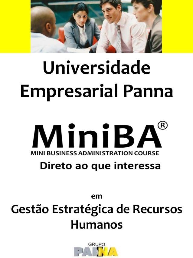 Universidade Empresarial Panna em Gestão Estratégica de Recursos Humanos