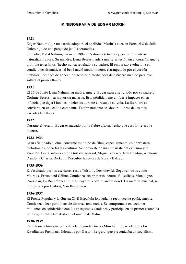 Pensamiento Complejo                                   www.pensamientocomplejo.com.ar                       MINIBIOGRAFÍA ...