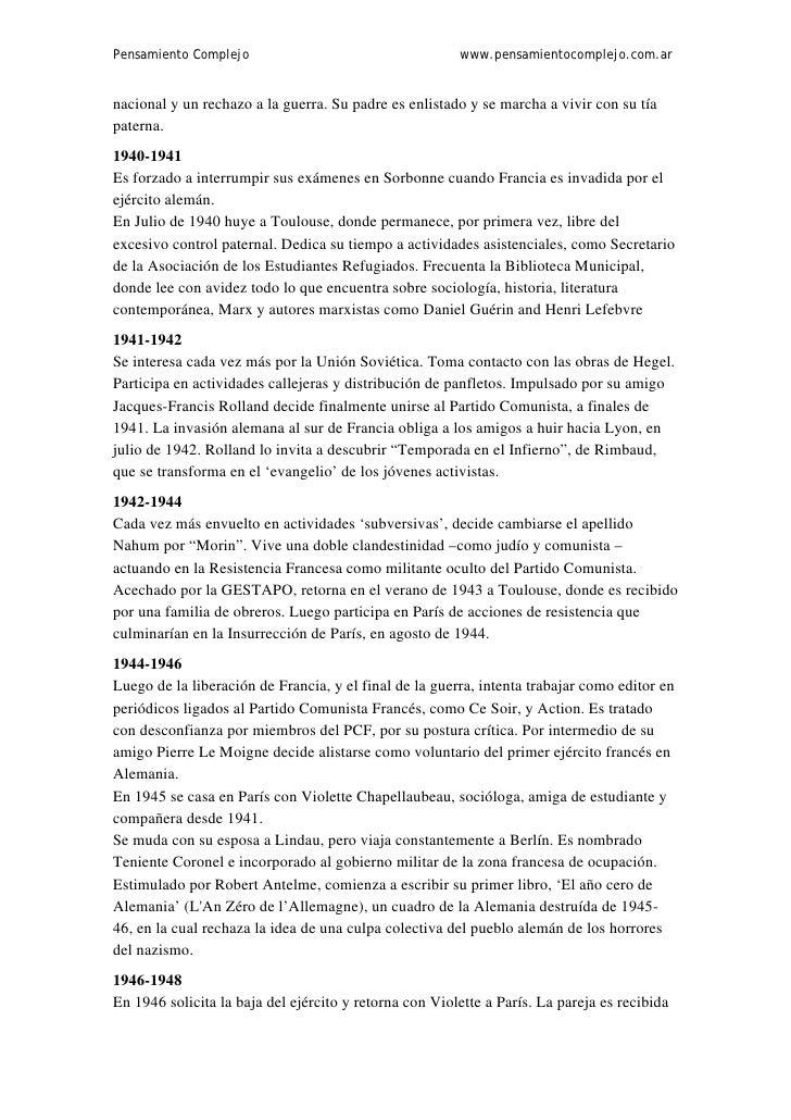 Pensamiento Complejo                                    www.pensamientocomplejo.com.arnacional y un rechazo a la guerra. S...
