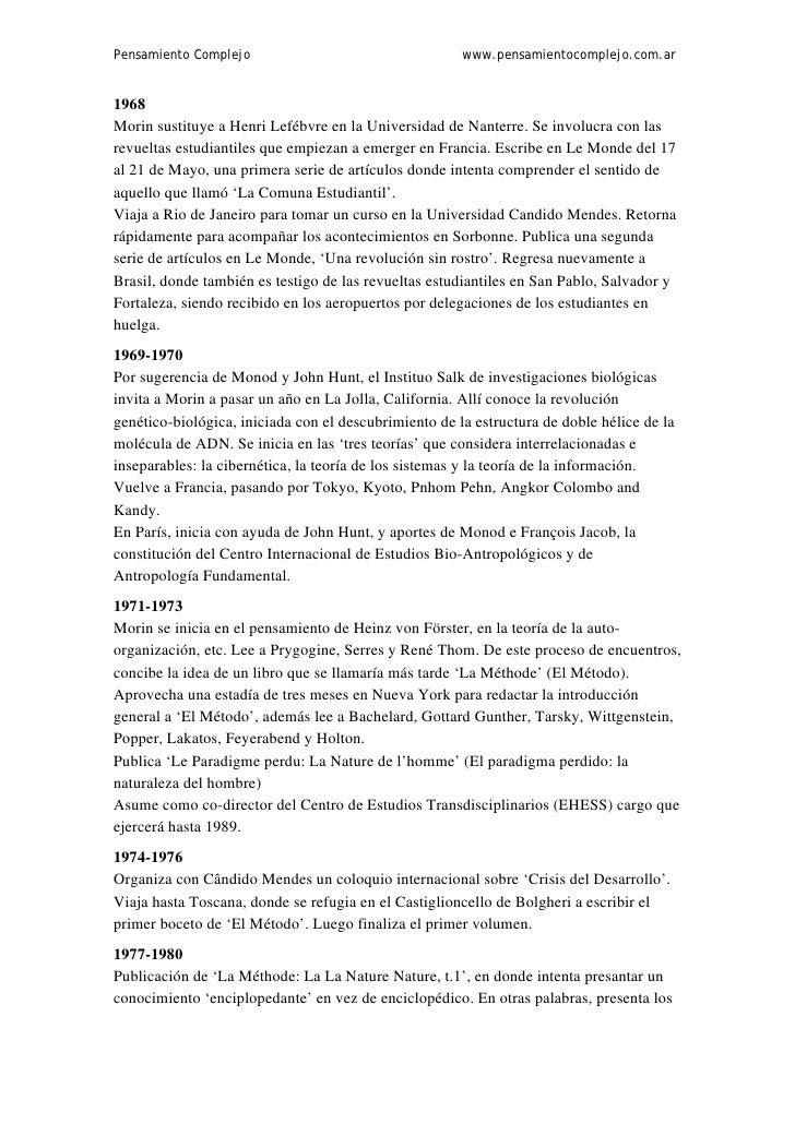 Pensamiento Complejo                                   www.pensamientocomplejo.com.ar1968Morin sustituye a Henri Lefébvre ...