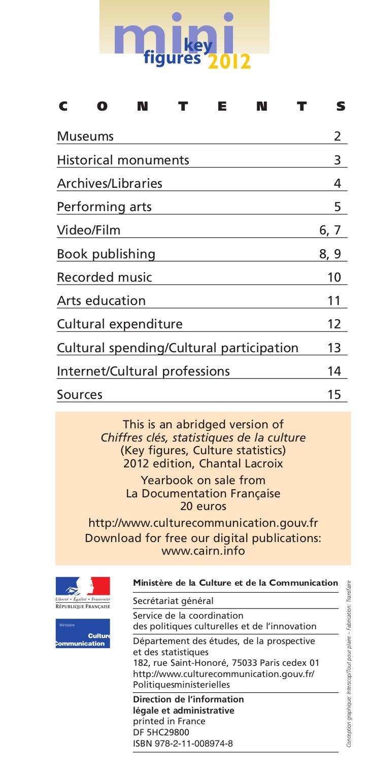 Cultural statistics in france key figures abstract 2012 - Office national de publication et de communication ...