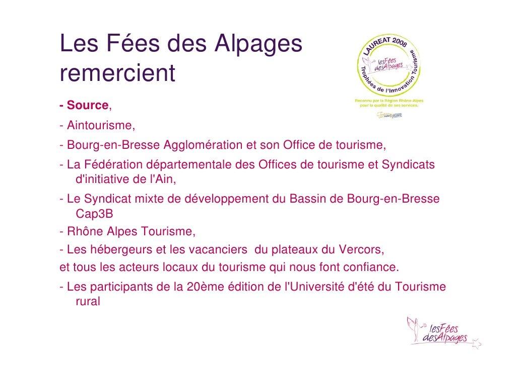 Conseiller et accueillir sur son territoire ue2010 - Office de tourisme de bourg en bresse agglomeration ...