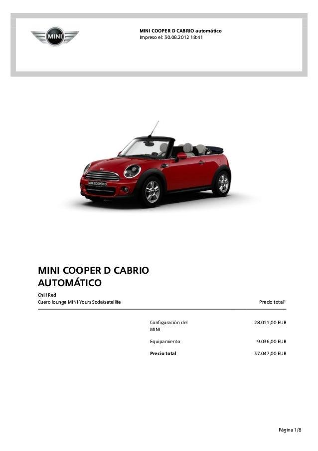 MINI COOPER D CABRIO automático                                         Impreso el: 30.08.2012 18:41MINI COOPER D CABRIOau...