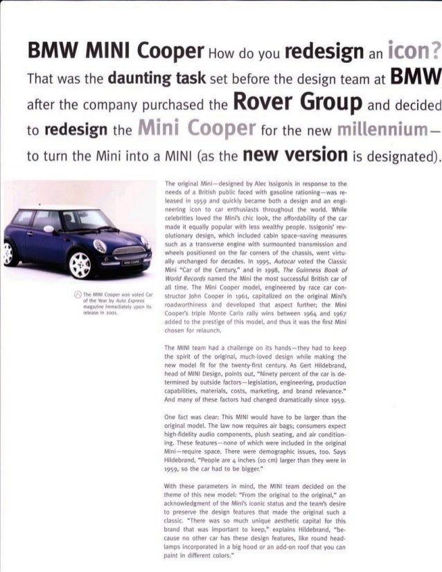 Mini Cooper Case Study from Design Secrets: Products 2