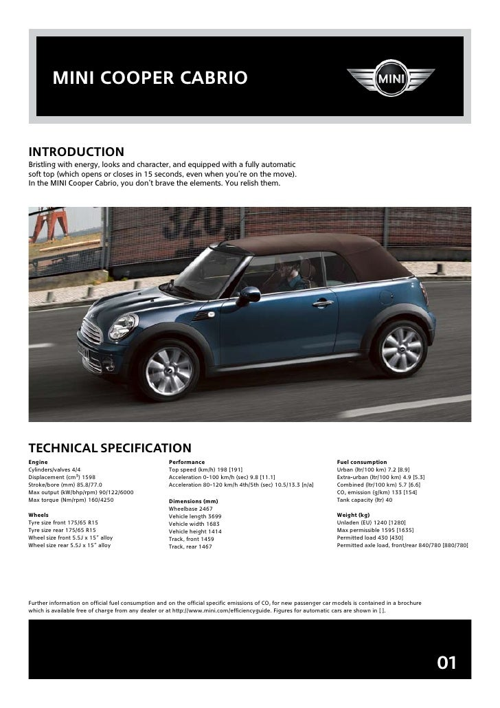 mini cooper cabrio   inTroDUcTion Bristling with energy, looks and character, and equipped with a fully automatic soft top...