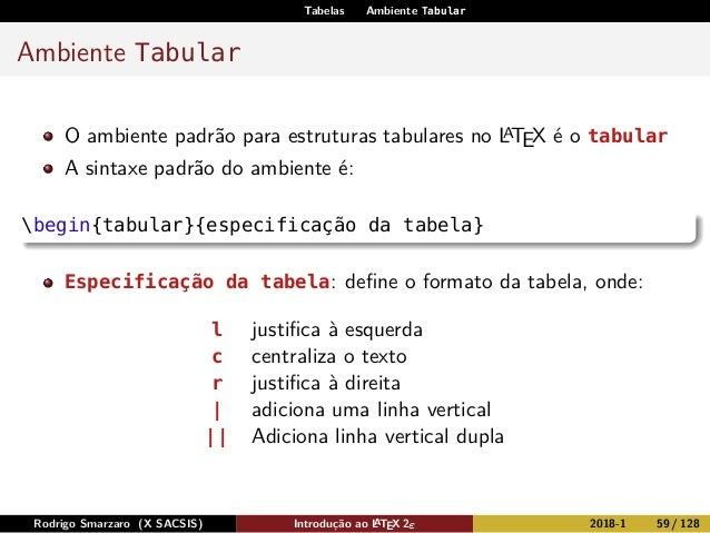 Tabelas Ambiente Tabular Ambiente Tabular O ambiente padrão para estruturas tabulares no LATEX é o tabular A sintaxe padrã...