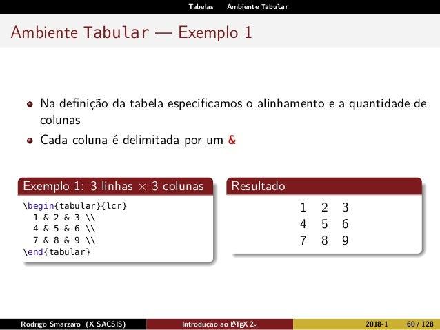 Tabelas Ambiente Tabular Ambiente Tabular — Exemplo 1 Na definição da tabela especificamos o alinhamento e a quantidade de c...