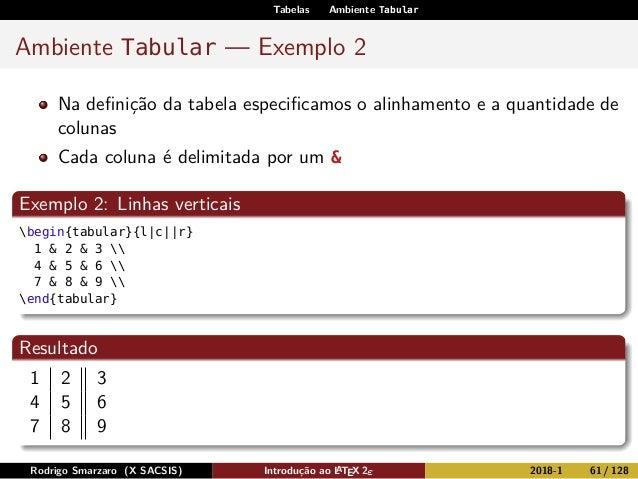 Tabelas Ambiente Tabular Ambiente Tabular — Exemplo 2 Na definição da tabela especificamos o alinhamento e a quantidade de c...