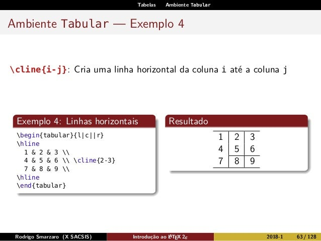 Tabelas Ambiente Tabular Ambiente Tabular — Exemplo 4 cline{i-j}: Cria uma linha horizontal da coluna i até a coluna j Exe...