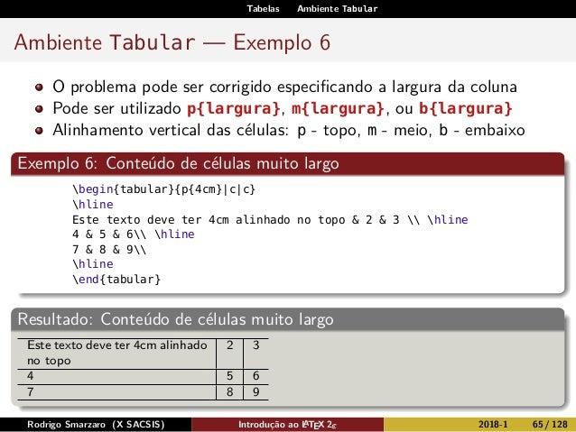Tabelas Ambiente Tabular Ambiente Tabular — Exemplo 6 O problema pode ser corrigido especificando a largura da coluna Pode ...