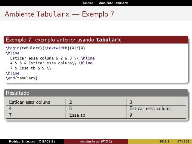Tabelas Ambiente Tabularx Ambiente Tabularx — Exemplo 7 Exemplo 7: exemplo anterior usando tabularx begin{tabularx}{textwi...