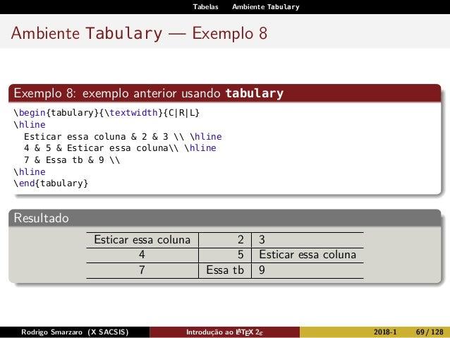Tabelas Ambiente Tabulary Ambiente Tabulary — Exemplo 8 Exemplo 8: exemplo anterior usando tabulary begin{tabulary}{textwi...
