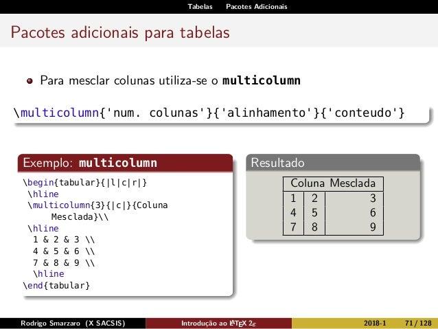 Tabelas Pacotes Adicionais Pacotes adicionais para tabelas Para mesclar colunas utiliza-se o multicolumn multicolumn{'num....