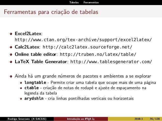 Tabelas Ferramentas Ferramentas para criação de tabelas Excel2Latex: http://www.ctan.org/tex-archive/support/excel2latex/ ...