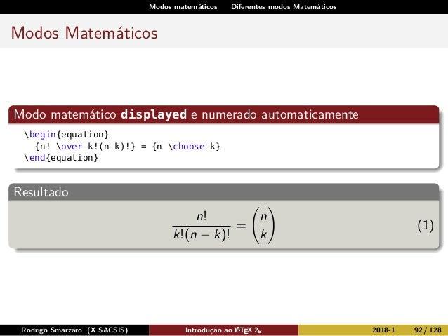 Modos matemáticos Diferentes modos Matemáticos Modos Matemáticos Modo matemático displayed e numerado automaticamente begi...